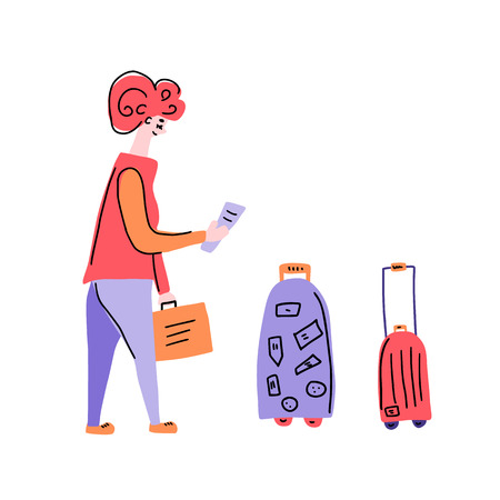 Passengers with luggage. Woman character in flat style. Hand drawn vector girl with travel elements isolated on white background. Color illustration.