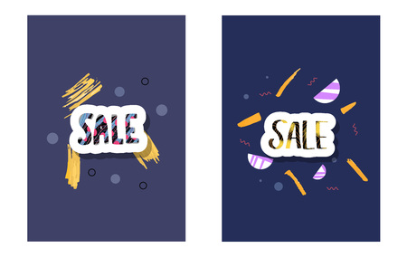 Sale banners template. Vector handwritten lettering with promotion design elements. Color concept illustration.