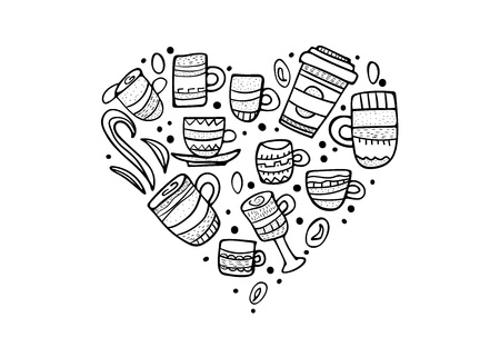 Heart shape badge  with coffe mugs. Set of cups with hot beverage in doodle style. Poster template. Vector illustration.