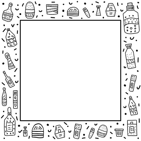 Vector frame of beauty supplies. Hygiene vials, tubes and packages in doodle style.
