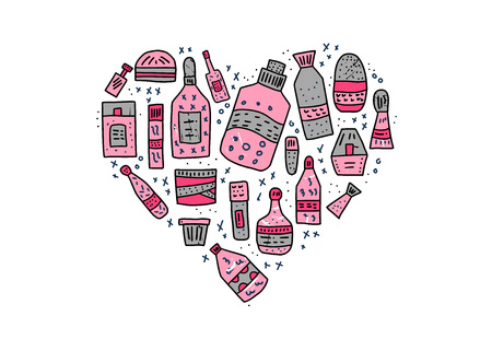 Heart shape composition of beauty supplies. Hygiene vials, tubes and packages in doodle style isolated on white background. Vector illustration. Иллюстрация