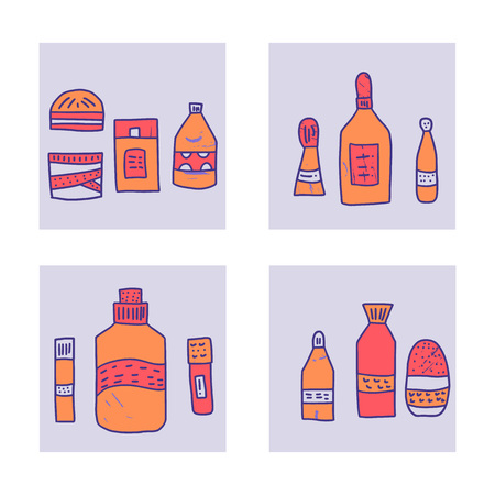 Set of banners with beauty supplies. Hygiene vials, tubes and packages in flat style. Vector illustration. Иллюстрация