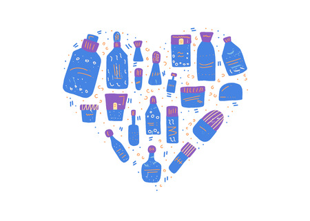 Heart badge of beauty supplies. Hygiene vials, tubes and packages in flat style. Vector illustration.
