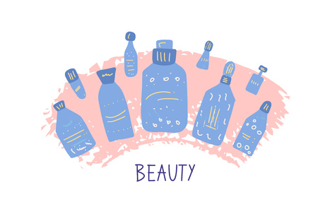 Set of beauty supplies. Hygiene vials, tubes and packages in flat style. Vector illustration.