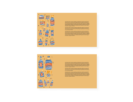 Set of cards with beauty supplies. Hygiene vials, tubes and packages in flat style. Vector illustration. Иллюстрация