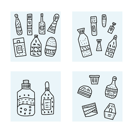 Set of beauty supplies. Hygiene vials, tubes and packages. Vector illustration.