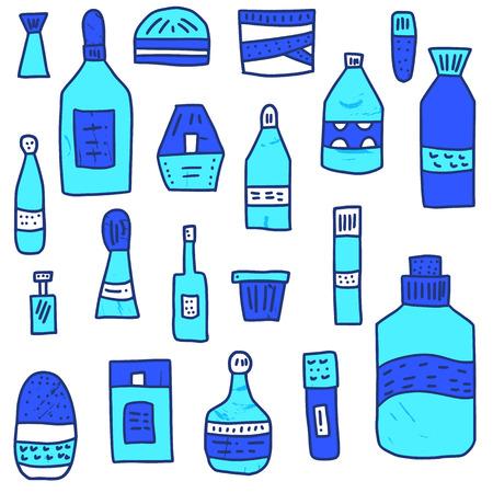 Set of beauty supplies. Hygiene vials, tubes and bottle. Vector illustration.