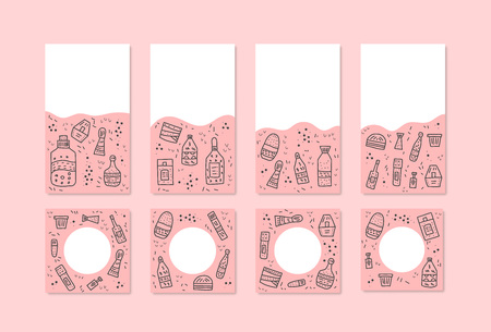 Set of social media templates with beauty supplies. Hygiene vials, tubes and packages in doodle style. Backgrounds for stories and posts. Vector illustration.