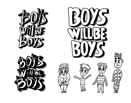 Boys will be boys sticker quotes collection. Handwritten lettering with characters. Vector illustration.