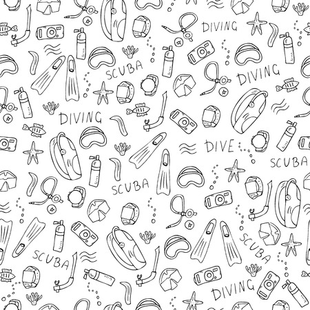 Seamless pattern of scuba diving equipment. Endless background with underwater activity symbols and accessories in doodle style. Vector illustration. Illusztráció