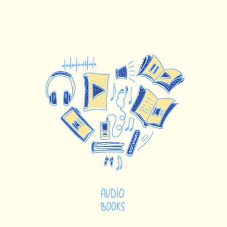 Audiobooks heart concept. Set of audio book symbols with lettering. Vector illustration.