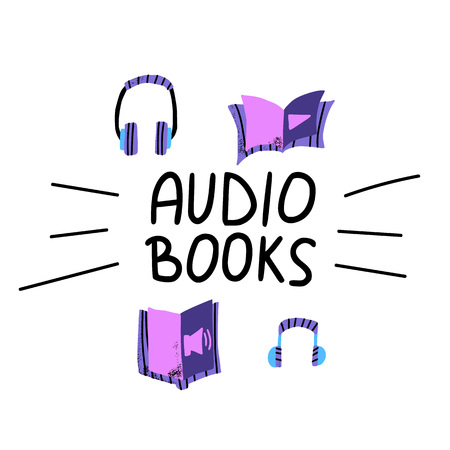 Audiobooks concept. Set of audio book symbols with lettering. Vector flat illustration.