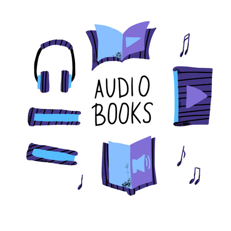 Audiobooks concept. Set of audio book symbols with lettering. Vector flat illustration with text. Иллюстрация