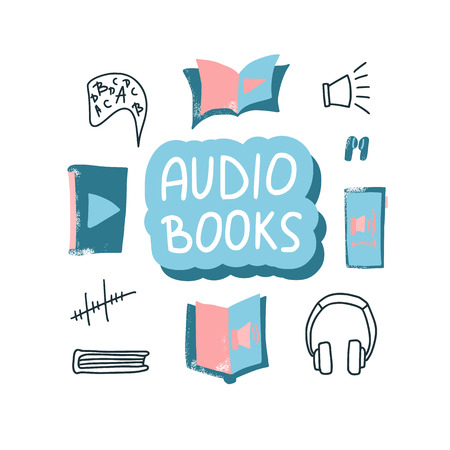 Audiobooks concept. Set of audio book symbols with lettering. Vector illustration.