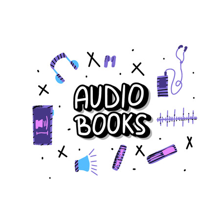 Audiobooks concept. Set of audio book symbols with handwritten lettering. Collection of multimedia elements. Vector conceptual illustration.