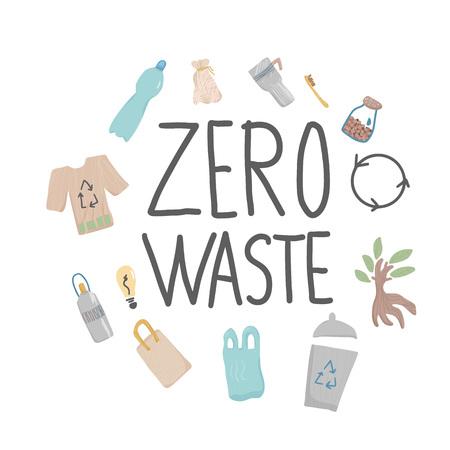 Elementos dibujados a mano de desperdicio cero con letras. Cita con cosas de estilo de vida ecológico. Decoración y texto escrito a mano. Ilustración conceptual de vector.