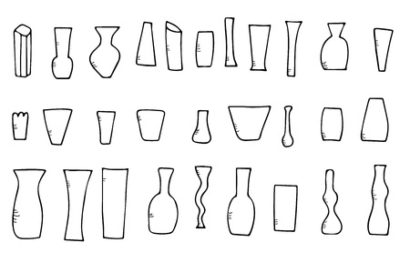 Set of flowers vases in doodle style. Vector sketch black and white design illustration.