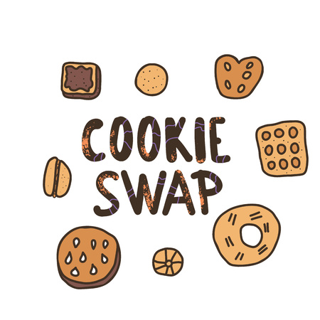 Cookie Swap concept with quote and pastry. Hand lettering with doodle style decoration. Lettering for event. Handwritten phrase with baked goods design elements. Vector illustration.