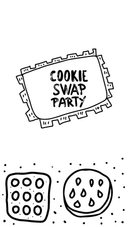 Cookie Swap social media template concept with quote and pastry. Hand lettering with doodle style decoration. Handwritten phrase with baked goods design elements. Vector illustration. Vector Illustratie