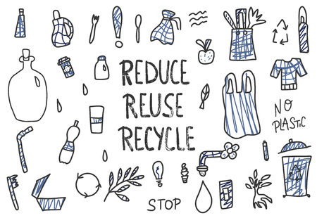 Reduce Reuse Recycle concept. Quote with eco lifestyle elements. Emblem with handwritten lettering and zero waste symbols set. Vector illustration.