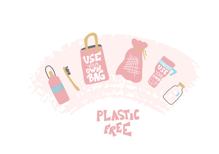 Plastic free concept. Quote with eco lifestyle elements isolated on white background. Emblem with handwritten lettering and zero waste symbols set. Vector color illustration. Illusztráció