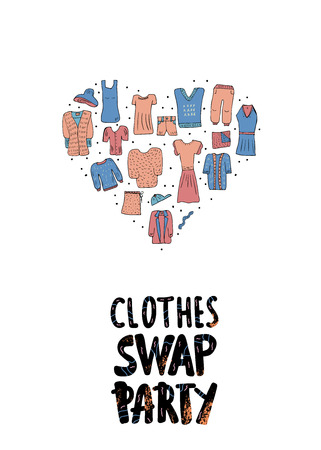 Clothes Swap Party concept. lettering with doodle style heart shape composition.  Handwritten phrase with fashion design element. Vector illustration.