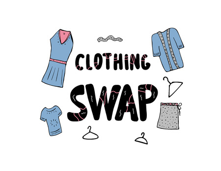 Clothing Swap Party lettering with doodle style decoration. Quote for clothes exchange event. Handwritten phrase with fashion design elements isolated on white background. Vector illustration.