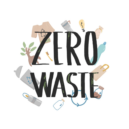 Zero waste hand drawn elements with lettering. Quote with eco lifestylesymbols isolated on white background. Vector conceptual illustration.