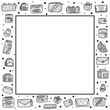Vektorrahmen mit Frauenhandtaschen. Sammlung von Geldbörsen im Doodle-Stil. Modeaccessoires-Elemente. Vektor-Illustration. Vektorgrafik
