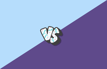 Versus screen. Vs symbol with divider. Confrontation background with space for text. Banner template for battle, match, challenge, sport, duel, competition, choice. Vector color illustration. Illustration