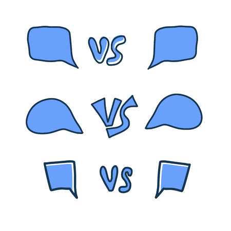 Versus screens elements. Vs symbol with speech bubbles. Confrontation background with space for text. Banner template for battle, match, challenge, sport, duel. Vector color illustration.