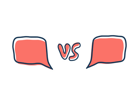 Versus screen. Vs symbol with divider. Confrontation background with space for text. Banner template for battle, match, challenge, sport, duel, competition, choice. Vector color illustration. Illusztráció