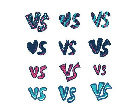 Versus signs set. Vs symbols.  Banner elements for battle, match, challenge, sport, duel, competition, choice. Vector color illustration. Illusztráció