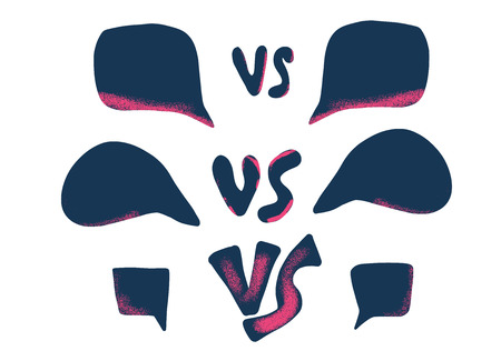 Versus screens. Vs symbol with speech bubbles. Confrontation background with space for text. Banner template for battle, match, challenge, sport, duel, competition, choice. Vector color illustration.
