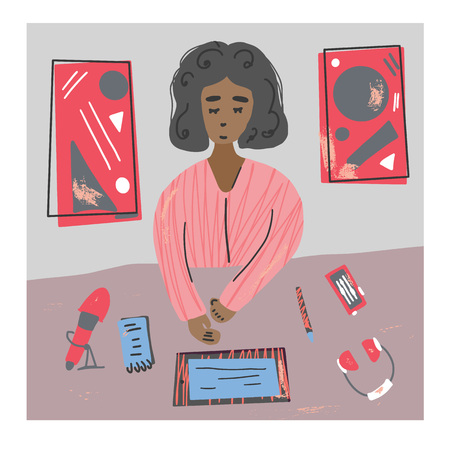 Podcaster. Young woman recording a podcast in a studio.  Vector color illustration in flat style.