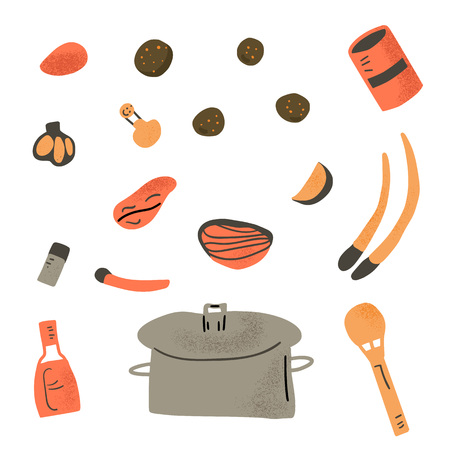 Soup recipe. Ingredients for soup in doodle style isolated on white background. Vector color illustration.
