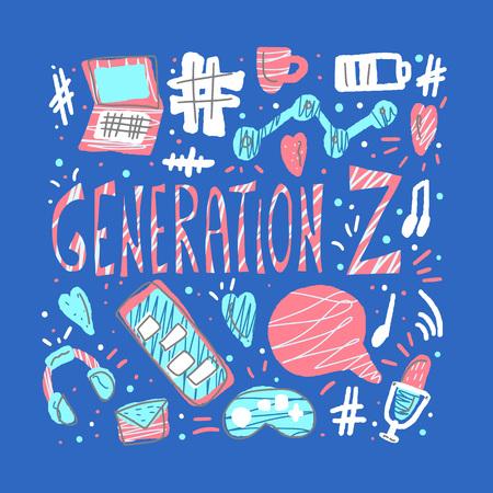 Generation z poster. Text with digital symbols. Vector concept illustration.
