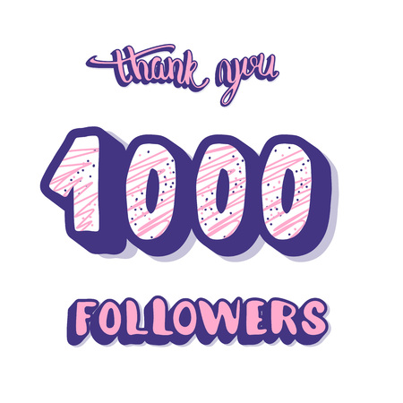 1000 followers post. Social media 1k banner. Vector color illustration. Illusztráció