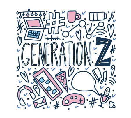 Generation z poster. Text with digital symbols. Vector concept illustration.