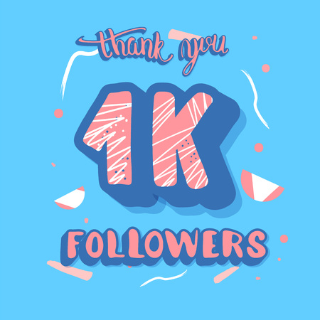 1k followers post. Social media banner. 1000 subscribers thank you. Vector color illustration. Illusztráció