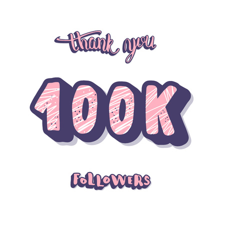 100k followers post. Social media banner. Vector color illustration. Illusztráció