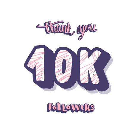 10k followers thank you post. 10000 subscribers. Social media banner. Vector color illustration.