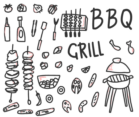 Barbecue collection isolated on white background. BBQ set with handdrawn lettering. Cookout symbols. Summer outdoor cooking elements. Vector  illustration. 向量圖像