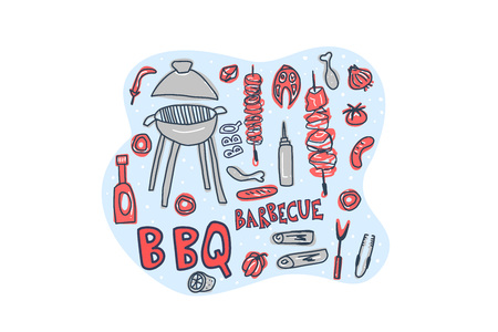 Barbecue composition with text. BBQ set with handdrawn lettering. Cookout symbols. Summer outdoor cooking elements. Vector color illustration.