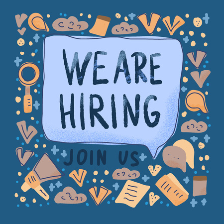 We are hiring message concept. Advertisement of vacancy. Bubble speech with quote. Template for ad of current vacancy. Vector illustration.