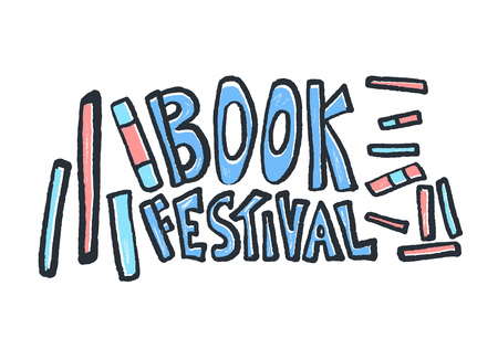 Book festival concept. Lettering with books in doodle style. Symbols of reading  isolated on white background. Vector illustration.