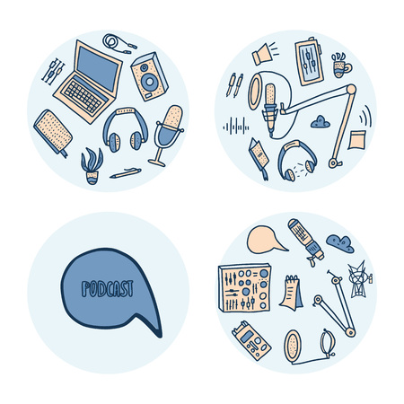 Podcast round emblems with handwritten lettering and decoration in doodle style. Text and podcasts symbols isolated on white background. Vector circle concept. Stock Illustratie