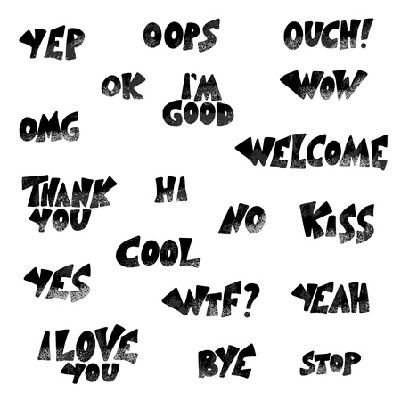Set of short phrases. Hand drawn collection of  stylized expessions. Vector lettering isolated on white background. 일러스트