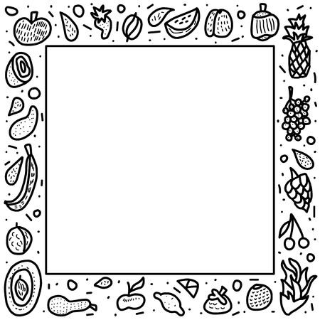 Concept de cadre de vecteur de fruits dans le style doodle. Ensemble de pomme fraîche, poire, orange, mangue, citron. Composition de bordure carrée.
