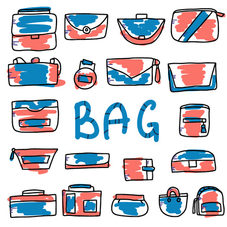 Set of woman handbags. Collection of purses in doodle style. Fashion accessories elements. Vector illustration.